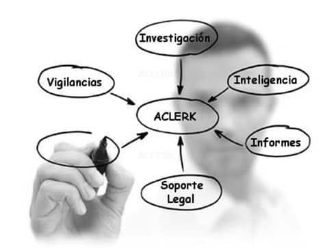 Un investigador privado escribiendo un organigrama