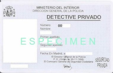 Carnet profesional de Detective Privado anterior